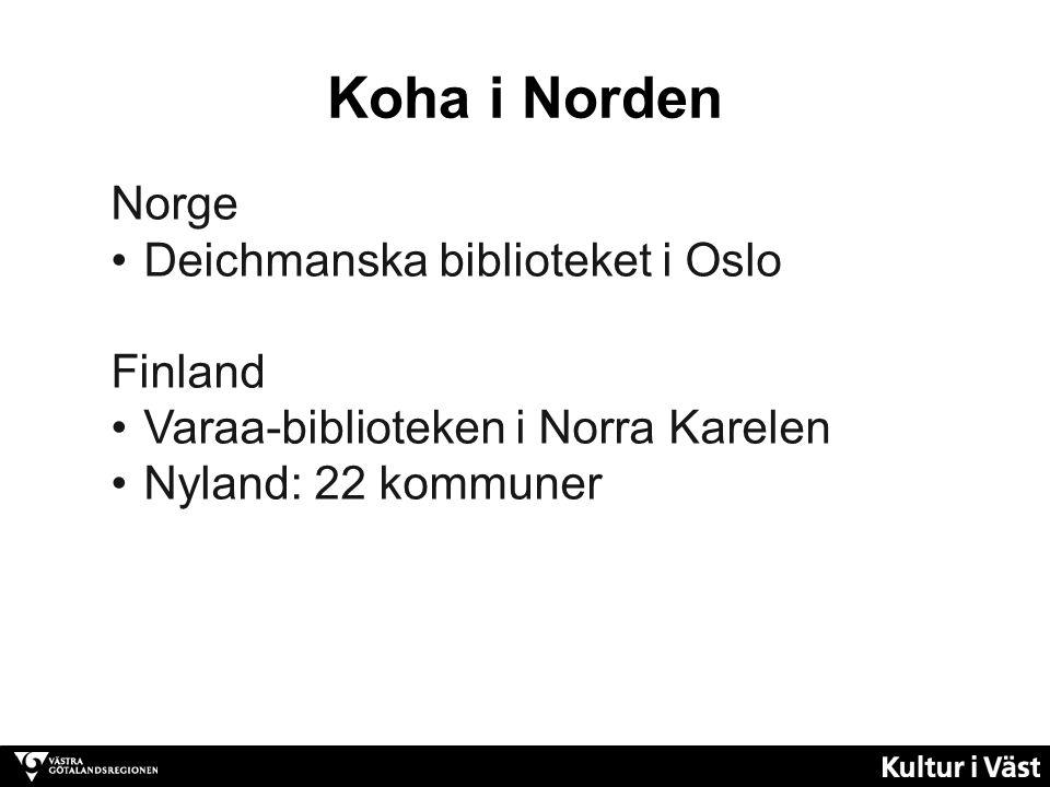Norge Deichmanska biblioteket i Oslo Finland Varaa-biblioteken i Norra Karelen Nyland: 22 kommuner Koha i Norden