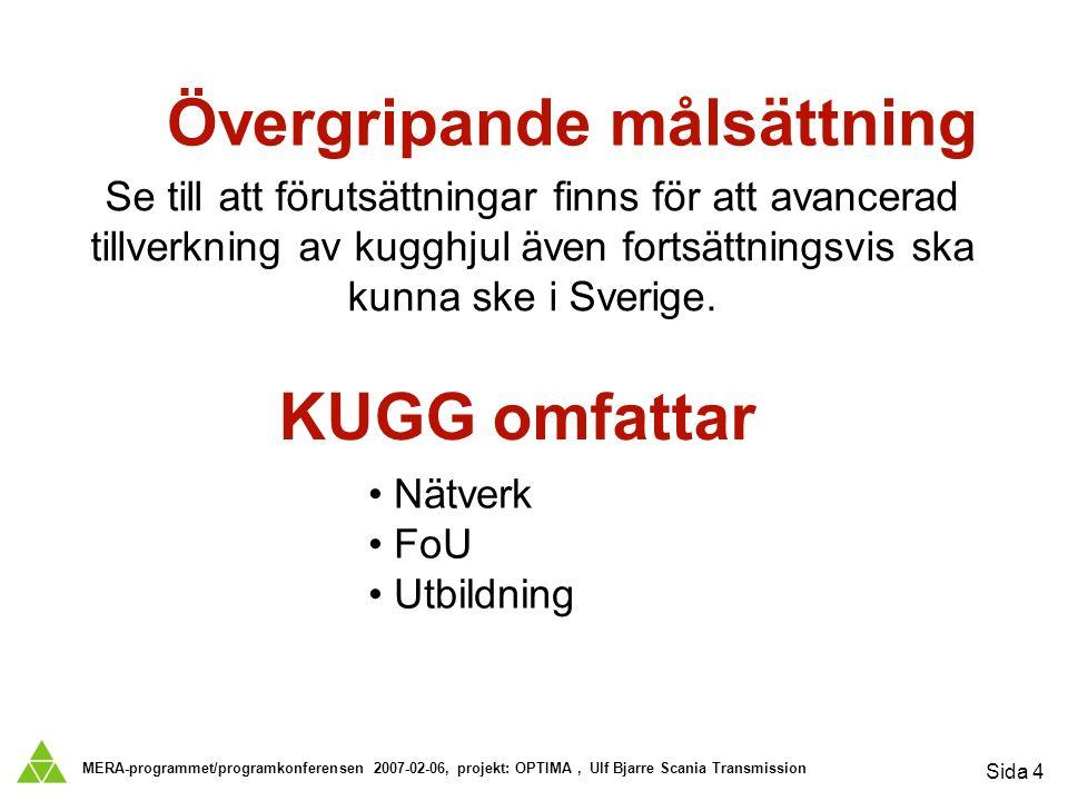 MERA-programmet/programkonferensen 2007-02-06, projekt: OPTIMA, Ulf Bjarre Scania Transmission Sida 4 Se till att förutsättningar finns för att avancerad tillverkning av kugghjul även fortsättningsvis ska kunna ske i Sverige.