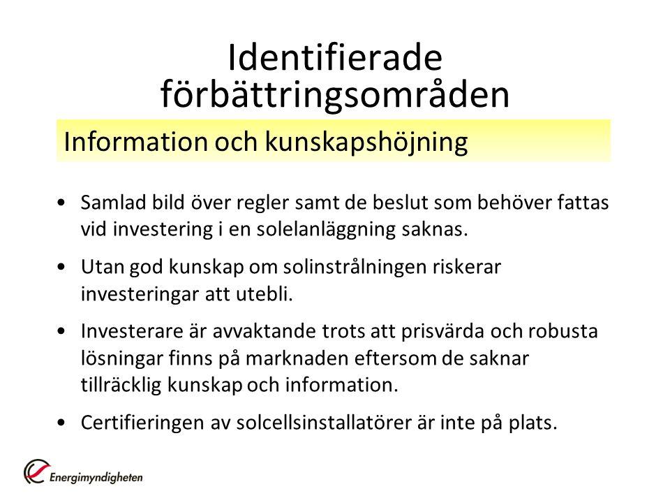 Identifierade förbättringsområden Samlad bild över regler samt de beslut som behöver fattas vid investering i en solelanläggning saknas.