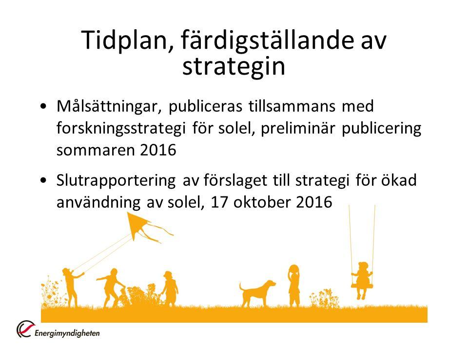 Tidplan, färdigställande av strategin Målsättningar, publiceras tillsammans med forskningsstrategi för solel, preliminär publicering sommaren 2016 Slutrapportering av förslaget till strategi för ökad användning av solel, 17 oktober 2016