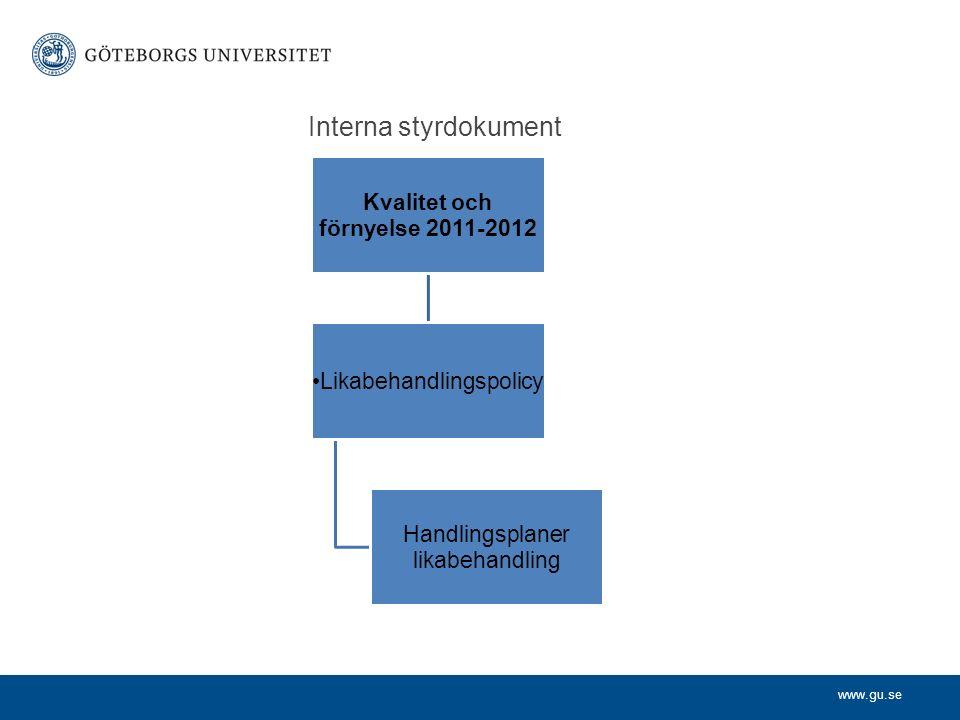 www.gu.se Interna styrdokument Kvalitet och förnyelse 2011-2012 Likabehandlingspolicy Handlingsplaner likabehandling