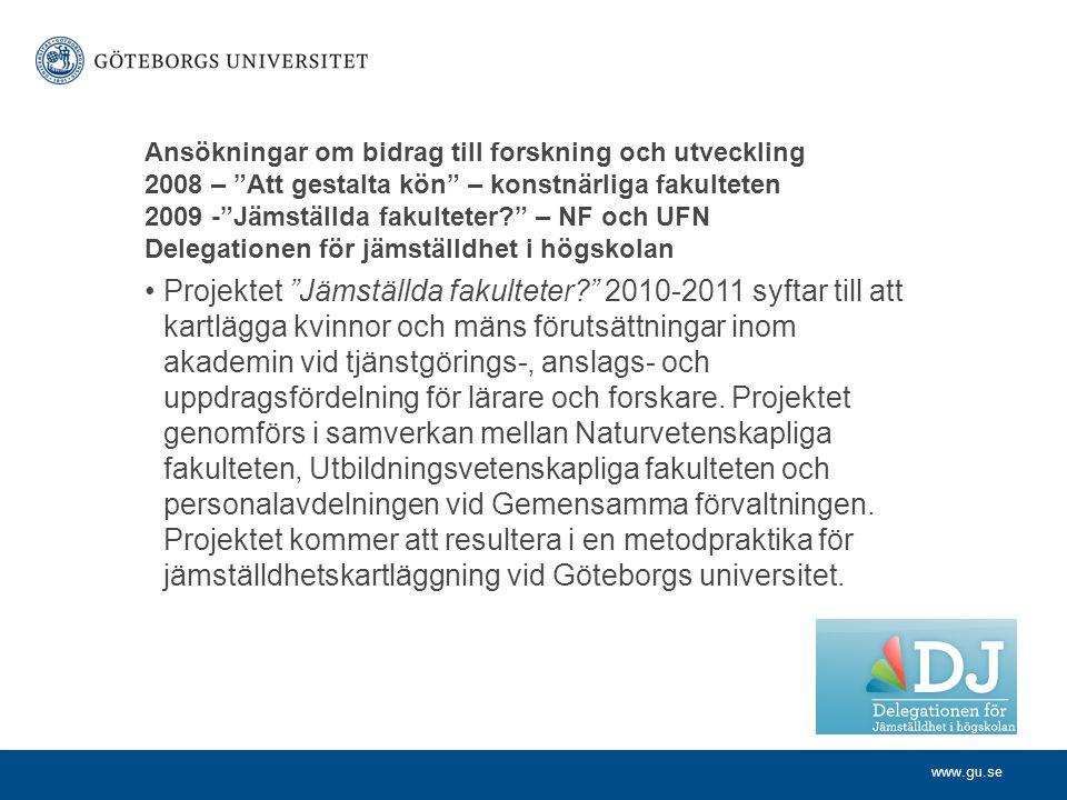 www.gu.se Ansökningar om bidrag till forskning och utveckling 2008 – Att gestalta kön – konstnärliga fakulteten 2009 - Jämställda fakulteter – NF och UFN Delegationen för jämställdhet i högskolan Projektet Jämställda fakulteter 2010-2011 syftar till att kartlägga kvinnor och mäns förutsättningar inom akademin vid tjänstgörings-, anslags- och uppdragsfördelning för lärare och forskare.