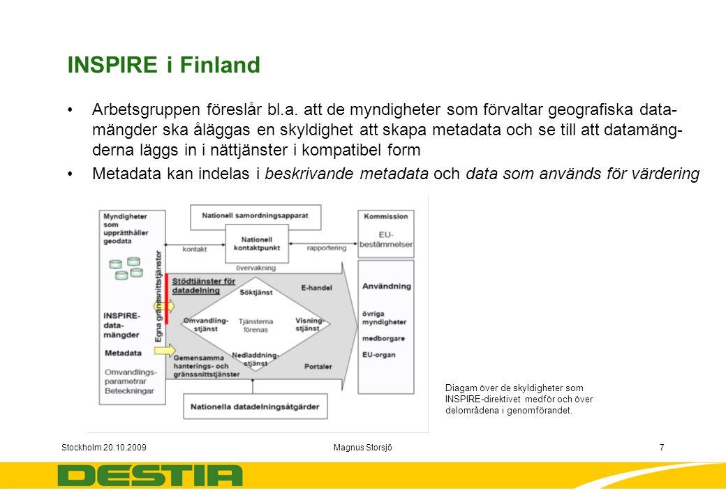 Stockholm 20.10.2009Magnus Storsjö7 INSPIRE i Finland Arbetsgruppen föreslår bl.a.