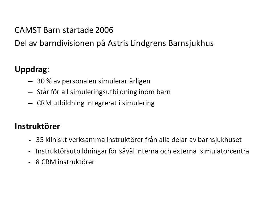 CAMST Barn startade 2006 Del av barndivisionen på Astris Lindgrens Barnsjukhus Uppdrag: – 30 % av personalen simulerar årligen – Står för all simuleringsutbildning inom barn – CRM utbildning integrerat i simulering Instruktörer - 35 kliniskt verksamma instruktörer från alla delar av barnsjukhuset - Instruktörsutbildningar för såväl interna och externa simulatorcentra - 8 CRM instruktörer