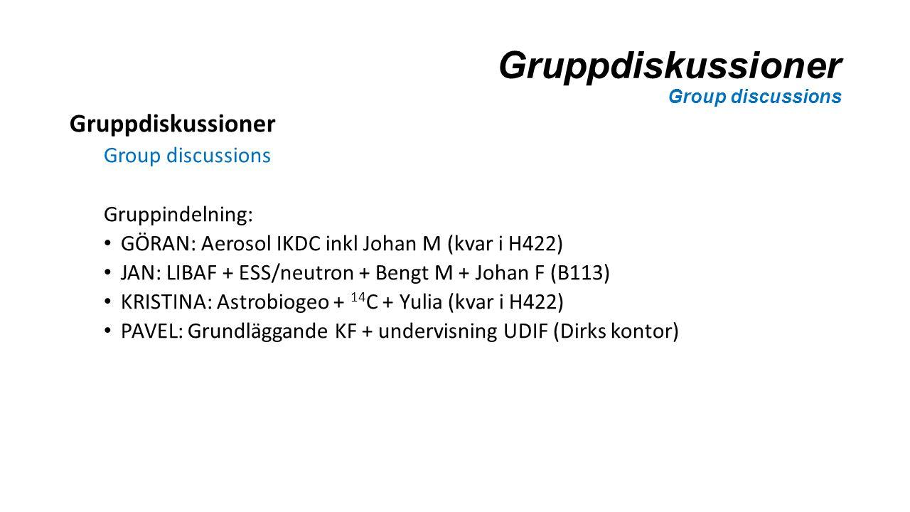 Gruppdiskussioner Group discussions Gruppdiskussioner Group discussions Gruppindelning: GÖRAN: Aerosol IKDC inkl Johan M (kvar i H422) JAN: LIBAF + ESS/neutron + Bengt M + Johan F (B113) KRISTINA: Astrobiogeo + 14 C + Yulia (kvar i H422) PAVEL: Grundläggande KF + undervisning UDIF (Dirks kontor)