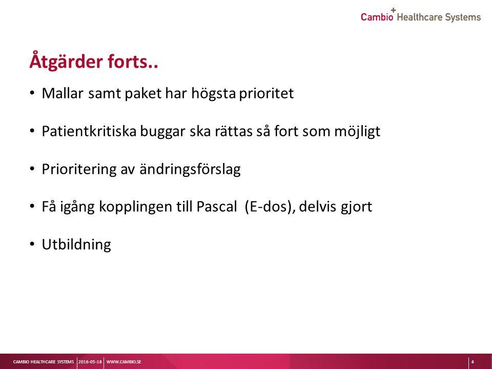 Sv CAMBIO HEALTHCARE SYSTEMS Åtgärder forts..