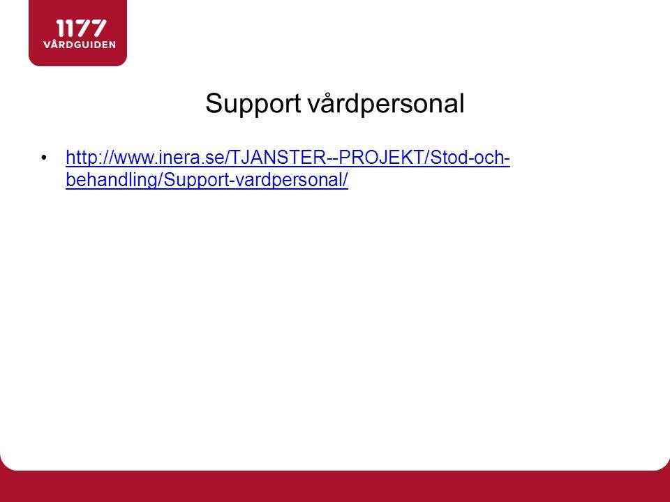 http://www.inera.se/TJANSTER--PROJEKT/Stod-och- behandling/Support-vardpersonal/http://www.inera.se/TJANSTER--PROJEKT/Stod-och- behandling/Support-vardpersonal/ Support vårdpersonal