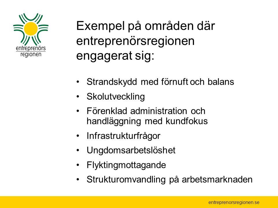 entreprenorsregionen.se Exempel på områden där entreprenörsregionen engagerat sig: Strandskydd med förnuft och balans Skolutveckling Förenklad adminis