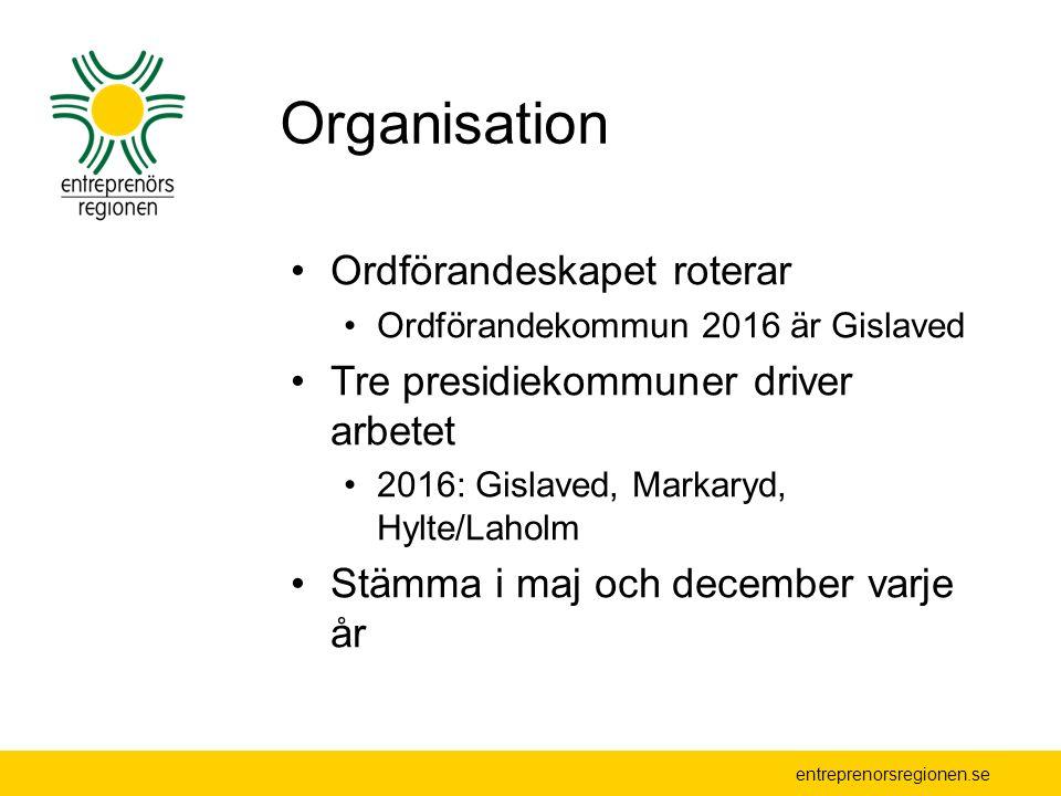 entreprenorsregionen.se Organisation Ordförandeskapet roterar Ordförandekommun 2016 är Gislaved Tre presidiekommuner driver arbetet 2016: Gislaved, Markaryd, Hylte/Laholm Stämma i maj och december varje år