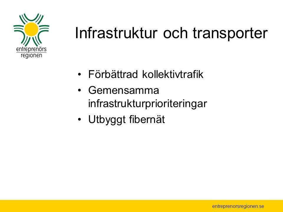 Infrastruktur och transporter Förbättrad kollektivtrafik Gemensamma infrastrukturprioriteringar Utbyggt fibernät
