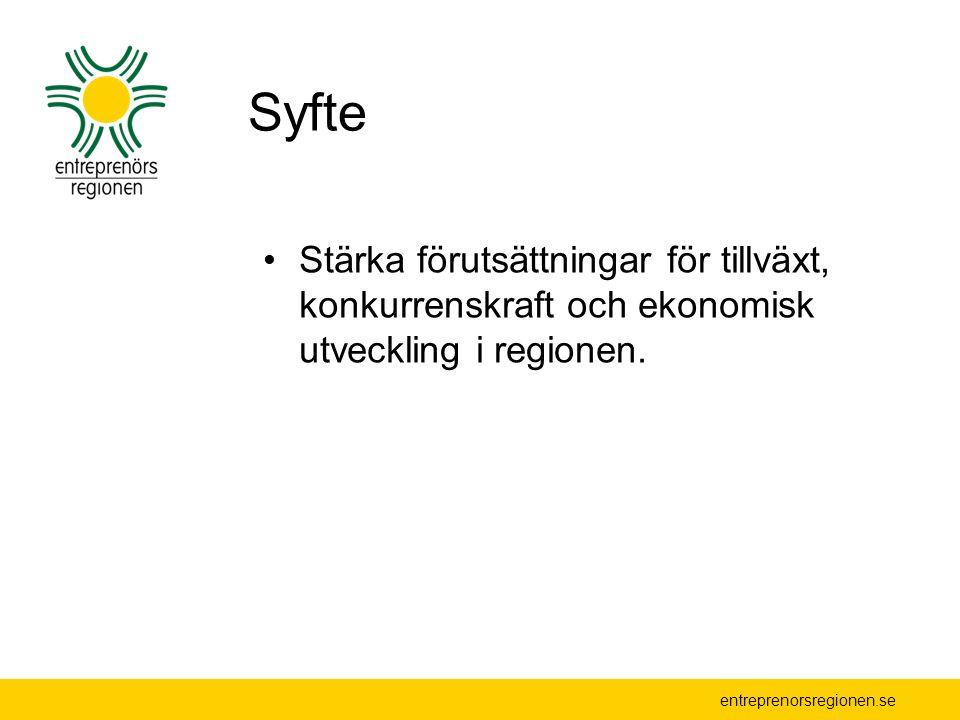 entreprenorsregionen.se Bakgrund Samarbetet i Entreprenörsregionen inleddes i slutet av 1990-talet Initiativ av Eskil Erlandsson i Ljungby för samverkan Entreprenörsregionen SW ekonomisk förening bildades 2003