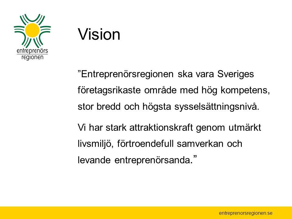 entreprenorsregionen.se Gemensamt uppdrag Främja entreprenörskap i privat och offentlig sektor Identifiera gemensamma tillväxtskapande och tillväxthämmande faktorer Bedriva aktiv lobbying Samverka i starka nätverk och arbetsgrupper