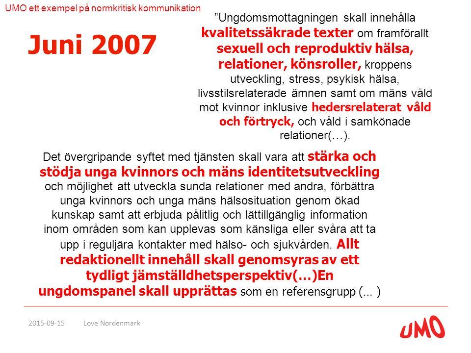 Juni 2007 2015-09-15Love Nordenmark Ungdomsmottagningen skall innehålla kvalitetssäkrade texter om framförallt sexuell och reproduktiv hälsa, relationer, könsroller, kroppens utveckling, stress, psykisk hälsa, livsstilsrelaterade ämnen samt om mäns våld mot kvinnor inklusive hedersrelaterat våld och förtryck, och våld i samkönade relationer(…).