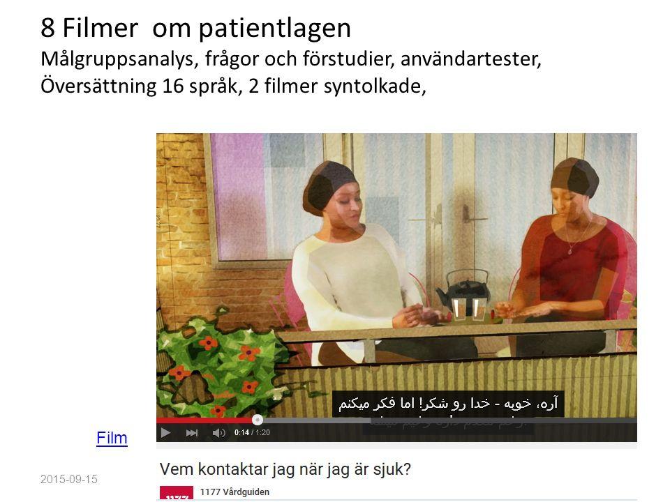 8 Filmer om patientlagen Målgruppsanalys, frågor och förstudier, användartester, Översättning 16 språk, 2 filmer syntolkade, 2015-09-15Love Nordenmark Film