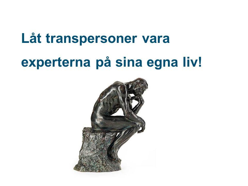 Låt transpersoner vara experterna på sina egna liv!