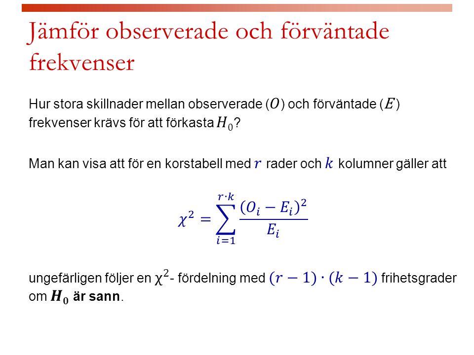 Jämför observerade och förväntade frekvenser