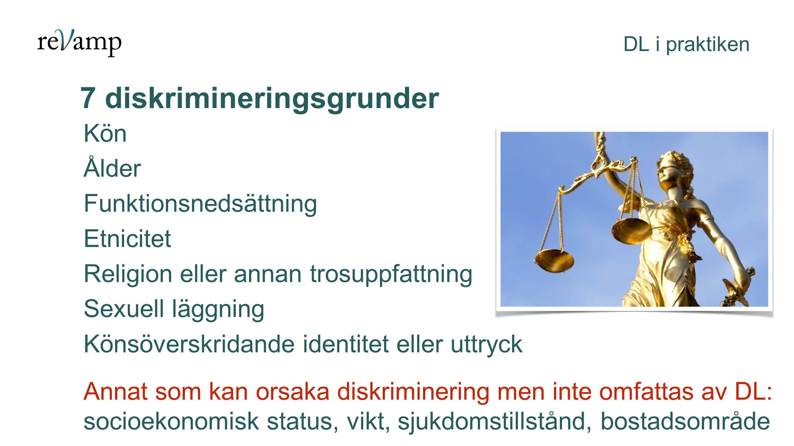 Kön som diskrimineringsgrund DL i praktiken Med kön innefattas kvinna, man och personer som avser ändra eller har ändrat könstillhörighet Män och kvinnor lever under väldigt olika villkor.