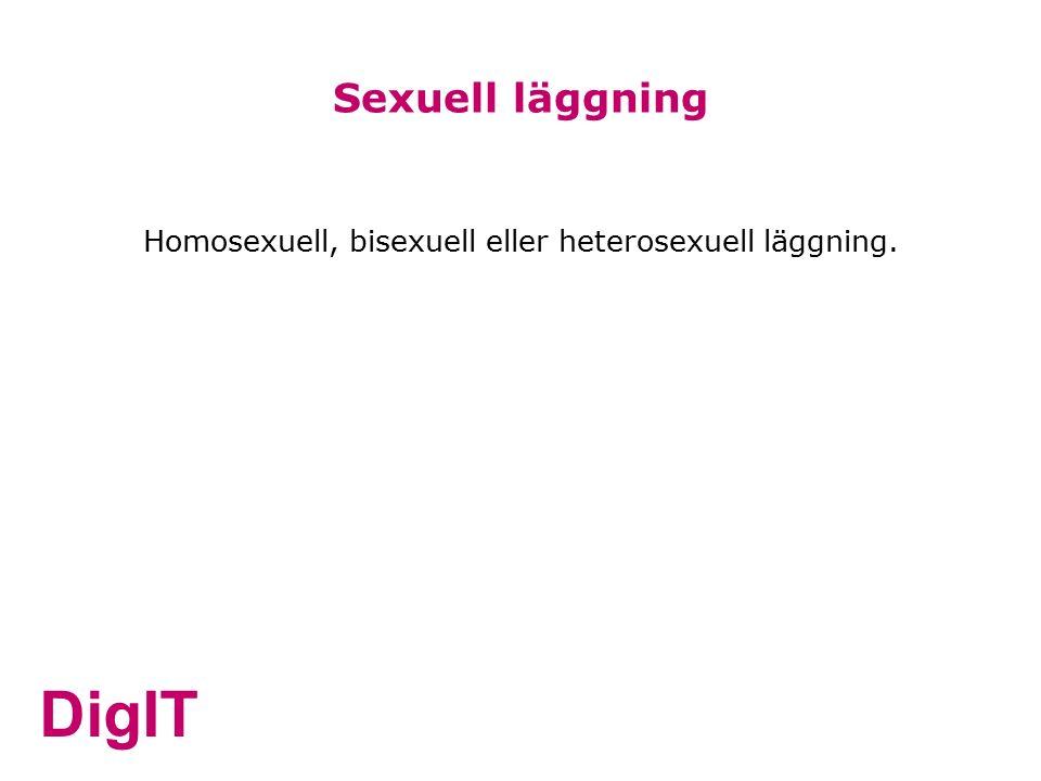 DigIT Homosexuell, bisexuell eller heterosexuell läggning. Sexuell läggning