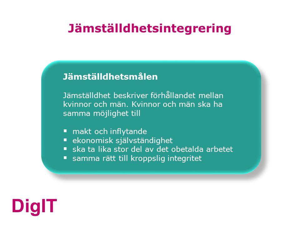 DigIT Jämställdhetsintegrering Jämställdhetsmålen Jämställdhet beskriver förhållandet mellan kvinnor och män.