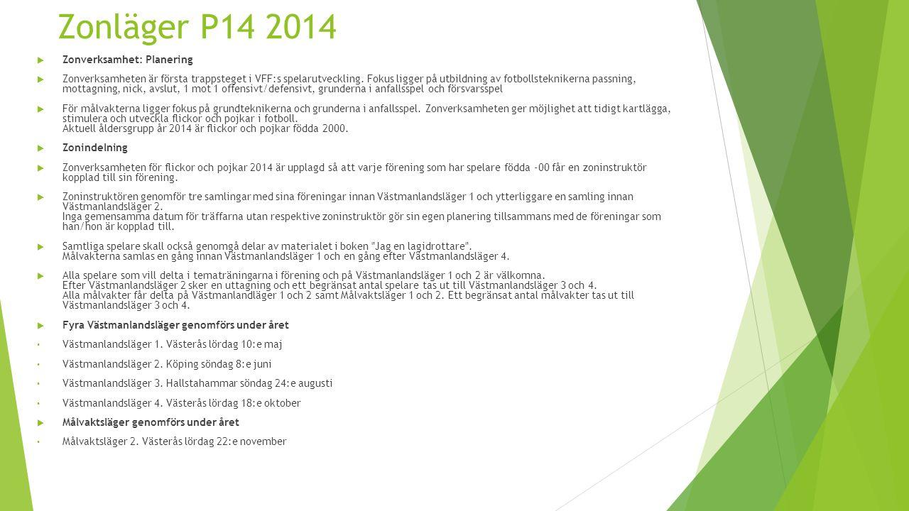 Zonläger P14 2014  Zonverksamhet: Planering  Zonverksamheten är första trappsteget i VFF:s spelarutveckling.