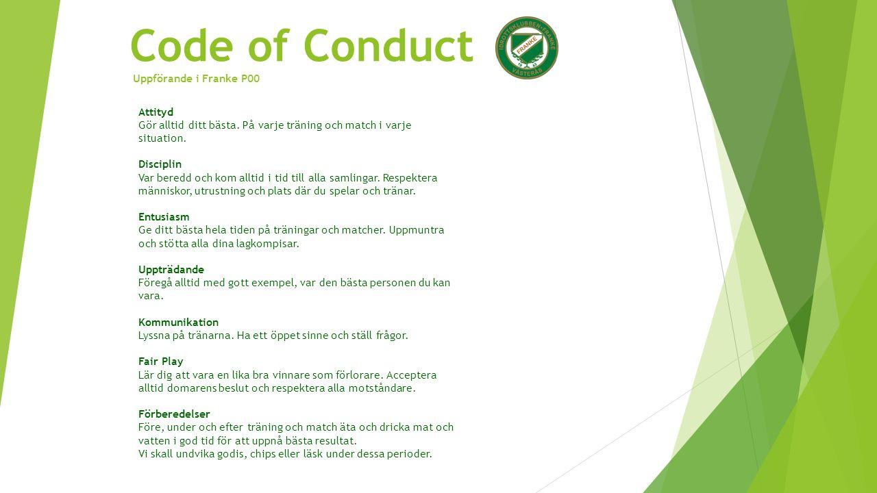 Code of Conduct Uppförande i Franke P00 Attityd Gör alltid ditt bästa.