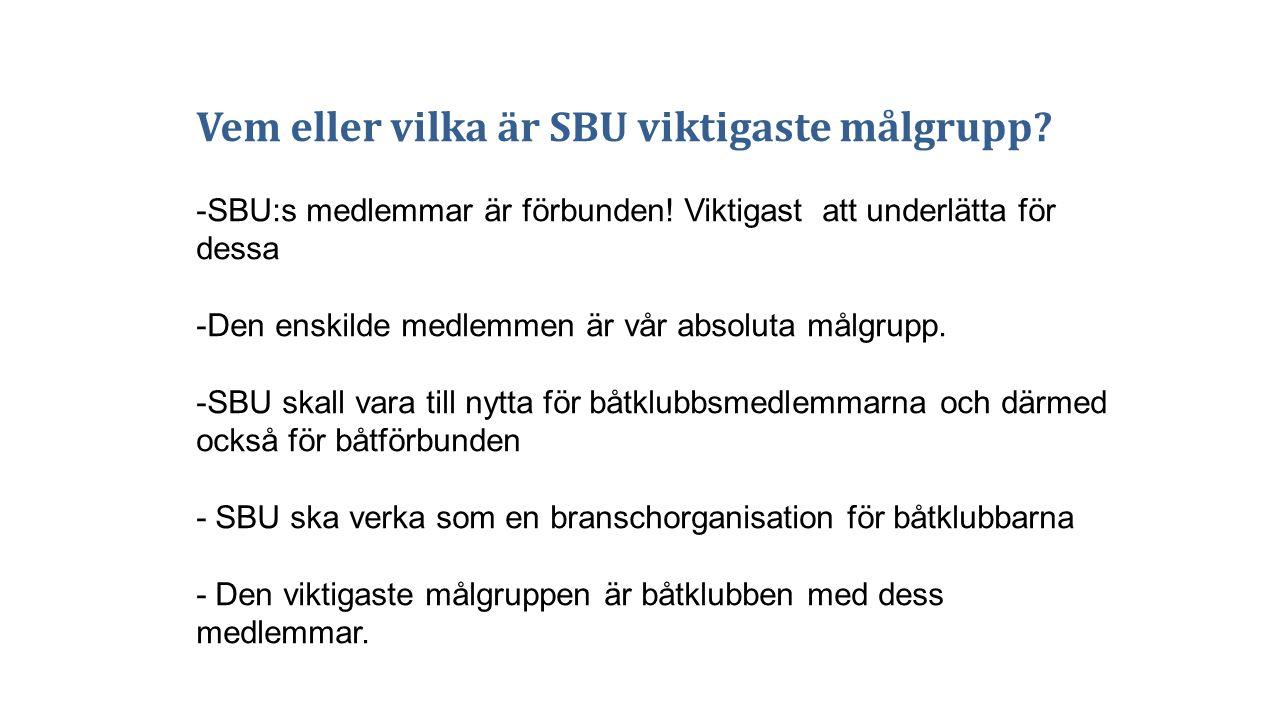 Vem eller vilka är SBU viktigaste målgrupp? -SBU:s medlemmar är förbunden! Viktigast att underlätta för dessa -Den enskilde medlemmen är vår absoluta