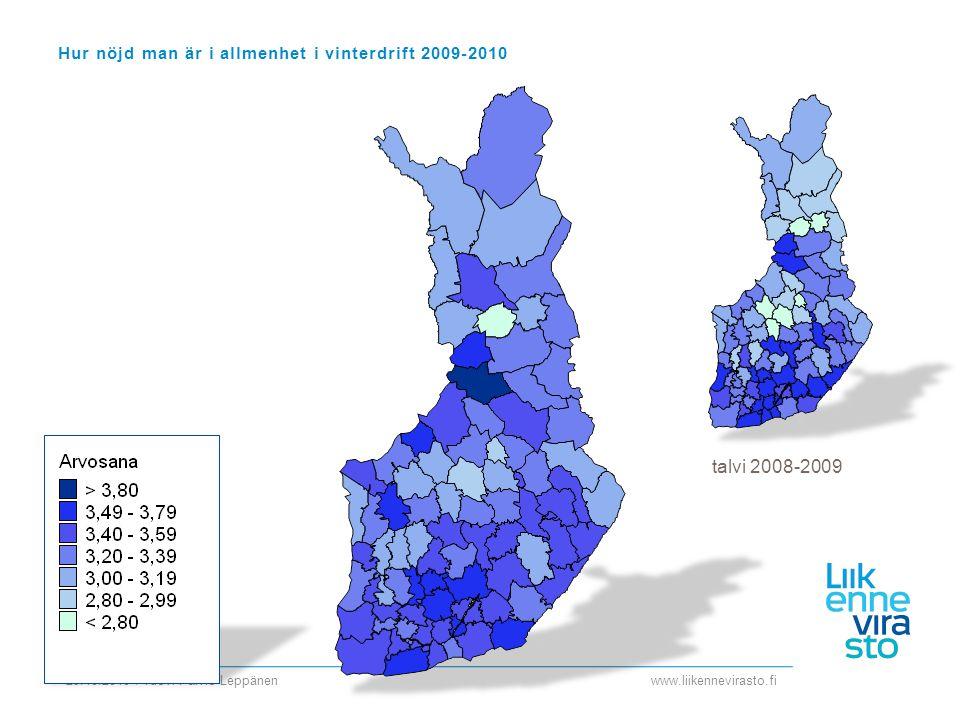 www.liikennevirasto.fi 29.10.2010 / Tuovi Päiviö-Leppänen Hur nöjd man är i allmenhet i vinterdrift 2009-2010 talvi 2008-2009