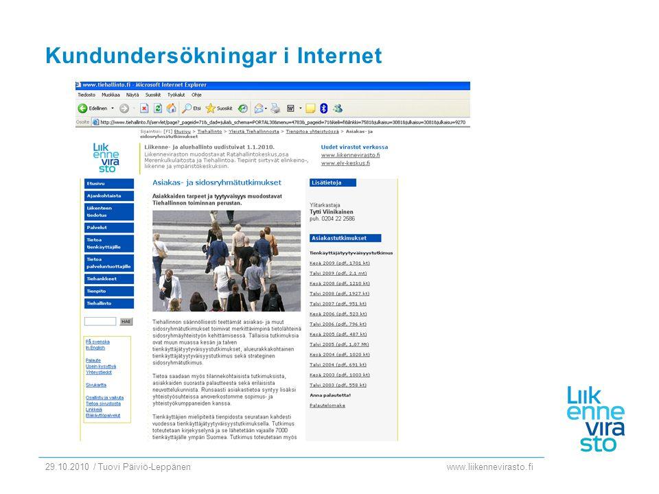 www.liikennevirasto.fi 29.10.2010 / Tuovi Päiviö-Leppänen Kundundersökningar i intranet