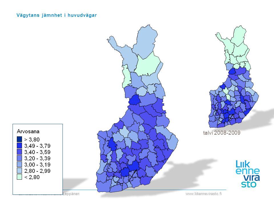 www.liikennevirasto.fi 29.10.2010 / Tuovi Päiviö-Leppänen Vägytans jämnhet i huvudvägar talvi 2008-2009