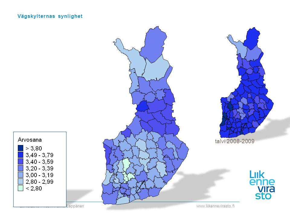 www.liikennevirasto.fi 29.10.2010 / Tuovi Päiviö-Leppänen Vägskylternas synlighet talvi 2008-2009