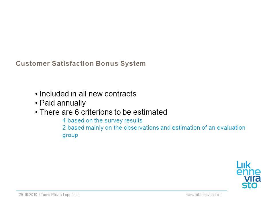 www.liikennevirasto.fi 29.10.2010 / Tuovi Päiviö-Leppänen Customer Satisfaction Bonus System Included in all new contracts Paid annually There are 6 c