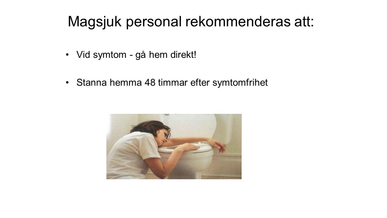 Magsjuk personal rekommenderas att: Vid symtom - gå hem direkt.