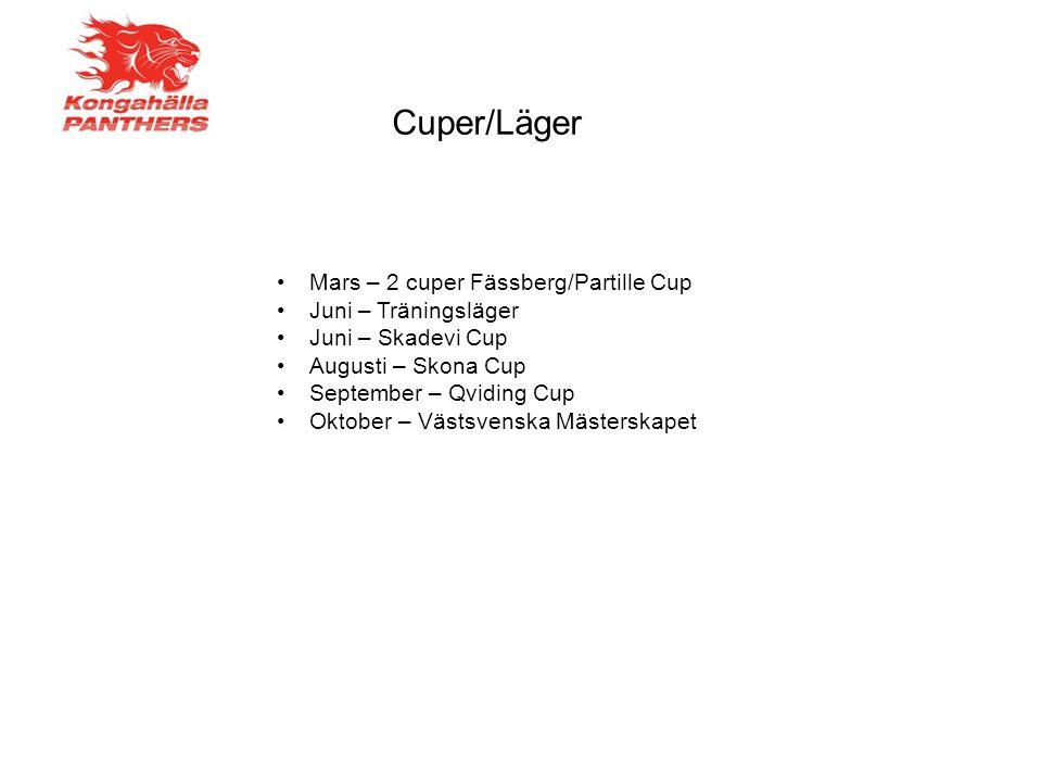 Mars – 2 cuper Fässberg/Partille Cup Juni – Träningsläger Juni – Skadevi Cup Augusti – Skona Cup September – Qviding Cup Oktober – Västsvenska Mästerskapet Cuper/Läger