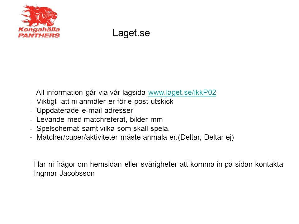 Laget.se - All information går via vår lagsida www.laget.se/ikkP02www.laget.se/ikkP02 - Viktigt att ni anmäler er för e-post utskick - Uppdaterade e-mail adresser - Levande med matchreferat, bilder mm - Spelschemat samt vilka som skall spela.