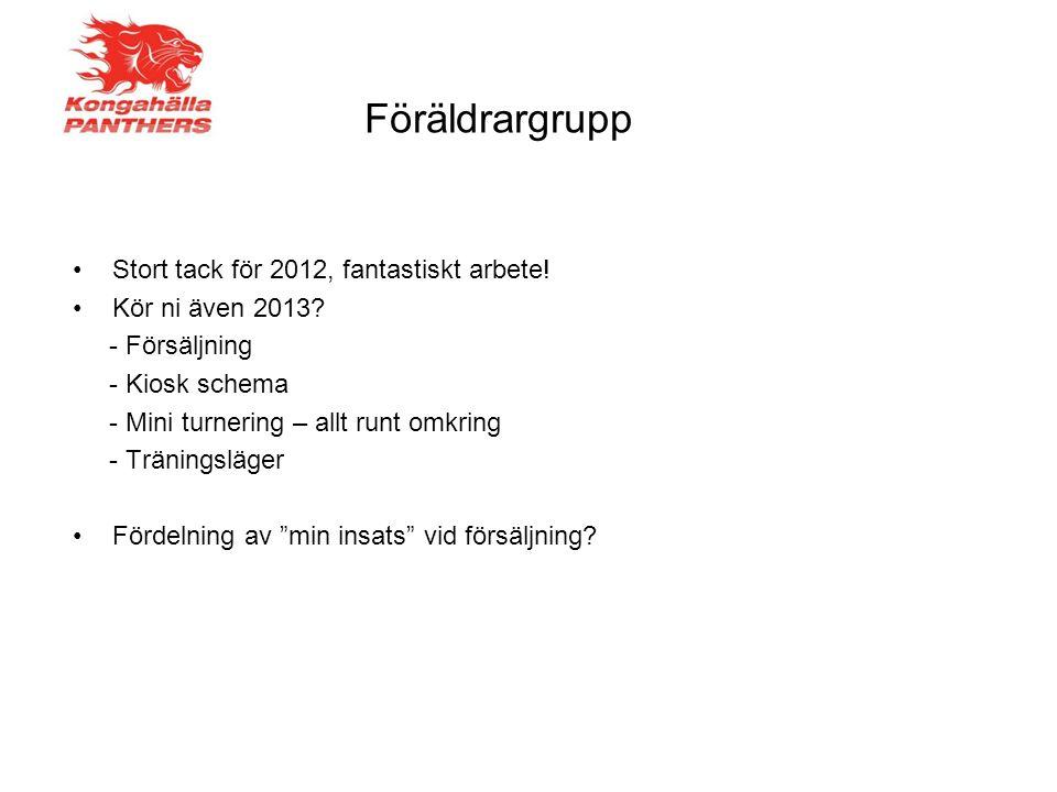 Stort tack för 2012, fantastiskt arbete! Kör ni även 2013? - Försäljning - Kiosk schema - Mini turnering – allt runt omkring - Träningsläger Fördelnin