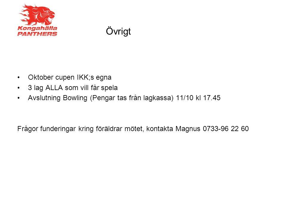 Övrigt Oktober cupen IKK;s egna 3 lag ALLA som vill får spela Avslutning Bowling (Pengar tas från lagkassa) 11/10 kl 17.45 Frågor funderingar kring föräldrar mötet, kontakta Magnus 0733-96 22 60