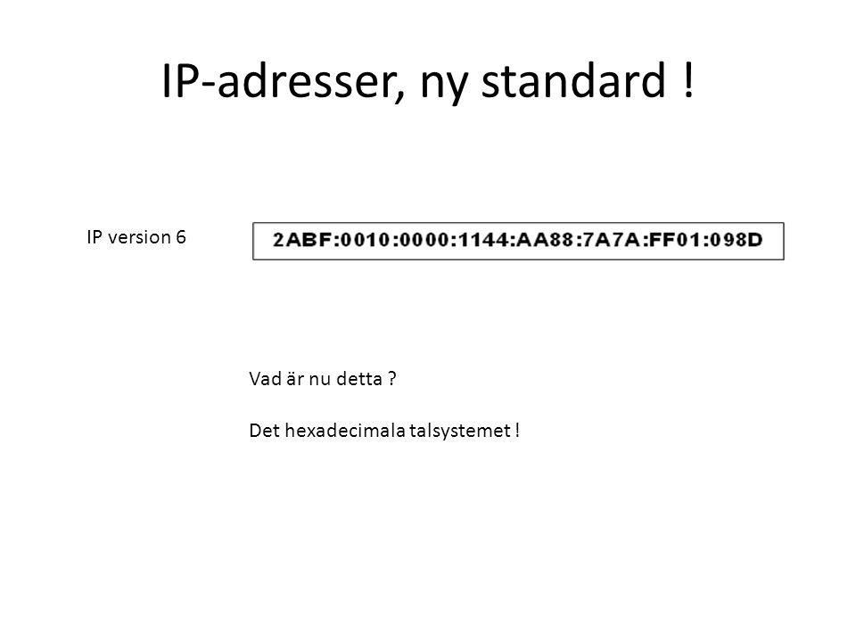 IP-adresser, ny standard ! IP version 6 Vad är nu detta ? Det hexadecimala talsystemet !