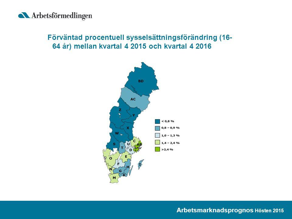 Antal personer berörda av varsel om uppsägning Kronobergs län, januari 2000 – oktober 2015 Arbetsmarknadsprognos Hösten 2015