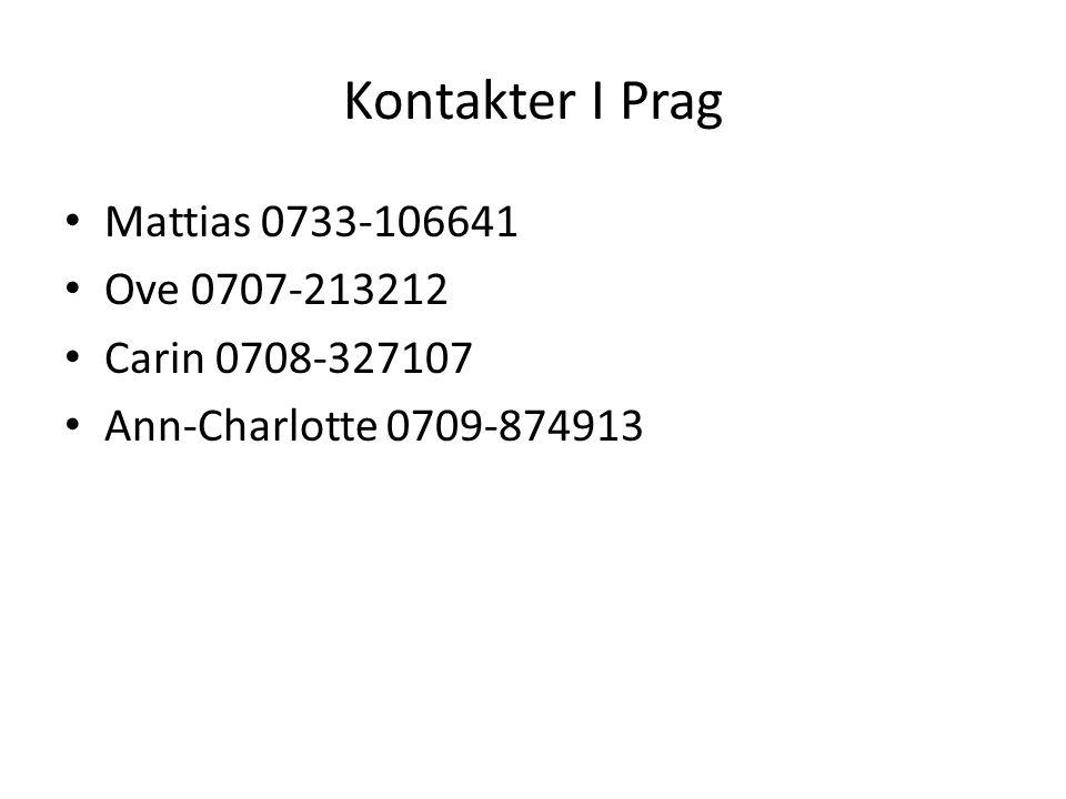 Kontakter I Prag Mattias 0733-106641 Ove 0707-213212 Carin 0708-327107 Ann-Charlotte 0709-874913