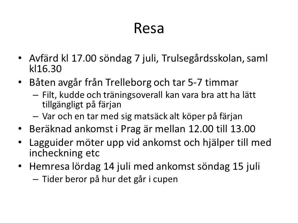 Resa Avfärd kl 17.00 söndag 7 juli, Trulsegårdsskolan, saml kl16.30 Båten avgår från Trelleborg och tar 5-7 timmar – Filt, kudde och träningsoverall kan vara bra att ha lätt tillgängligt på färjan – Var och en tar med sig matsäck alt köper på färjan Beräknad ankomst i Prag är mellan 12.00 till 13.00 Lagguider möter upp vid ankomst och hjälper till med incheckning etc Hemresa lördag 14 juli med ankomst söndag 15 juli – Tider beror på hur det går i cupen