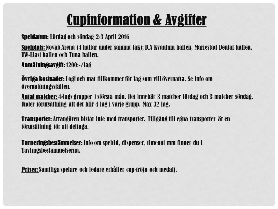 Cupinformation & Avgifter Speldatum: Lördag och söndag 2-3 April 2016 Spelplats: Novab Arena (4 hallar under samma tak); ICA Kvantum hallen, Mariestad Dental hallen, UW-Elast hallen och Tuna hallen.