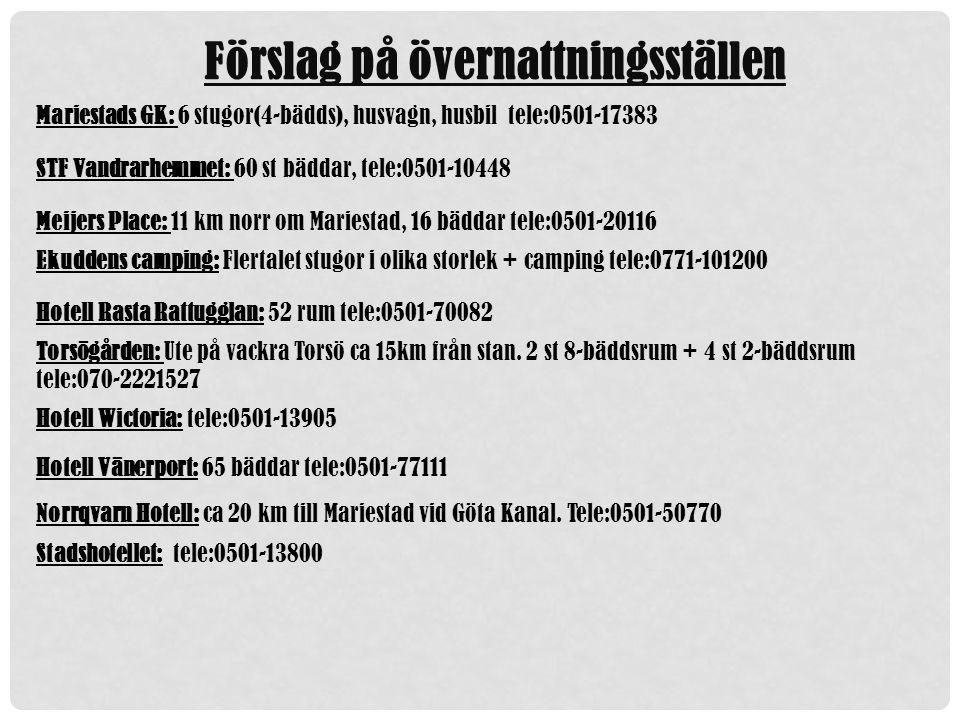 Förslag på övernattningsställen Mariestads GK: 6 stugor(4-bädds), husvagn, husbil tele:0501-17383 STF Vandrarhemmet: 60 st bäddar, tele:0501-10448 Meijers Place: 11 km norr om Mariestad, 16 bäddar tele:0501-20116 Ekuddens camping: Flertalet stugor i olika storlek + camping tele:0771-101200 Hotell Rasta Rattugglan: 52 rum tele:0501-70082 Torsögården: Ute på vackra Torsö ca 15km från stan.