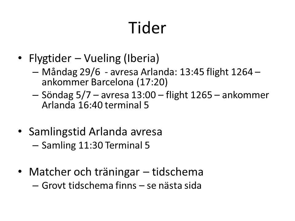 Tider Flygtider – Vueling (Iberia) – Måndag 29/6 - avresa Arlanda: 13:45 flight 1264 – ankommer Barcelona (17:20) – Söndag 5/7 – avresa 13:00 – flight 1265 – ankommer Arlanda 16:40 terminal 5 Samlingstid Arlanda avresa – Samling 11:30 Terminal 5 Matcher och träningar – tidschema – Grovt tidschema finns – se nästa sida