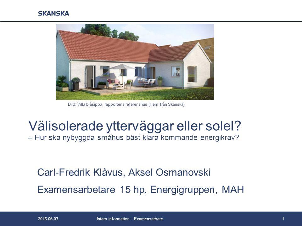 Välisolerade ytterväggar eller solel? – Hur ska nybyggda småhus bäst klara kommande energikrav? Carl-Fredrik Klåvus, Aksel Osmanovski Examensarbetare