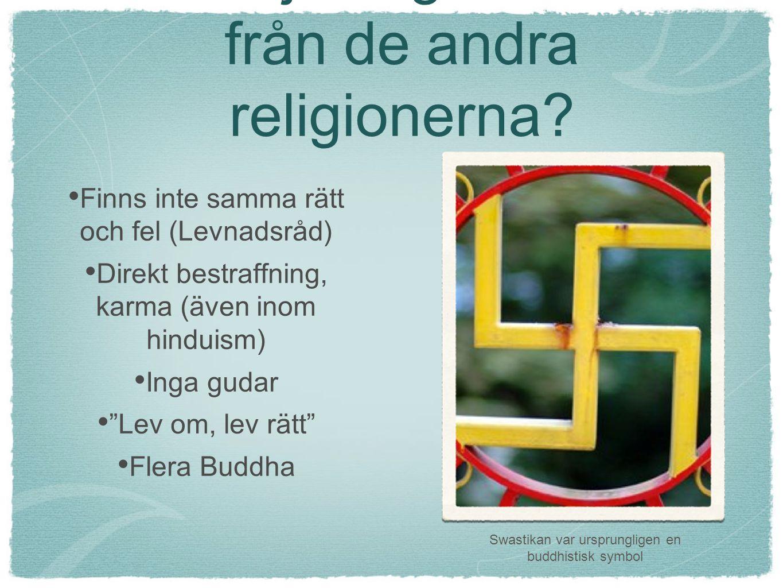Hur skiljer sig buddhism från de andra religionerna? Finns inte samma rätt och fel (Levnadsråd) Direkt bestraffning, karma (även inom hinduism) Inga g