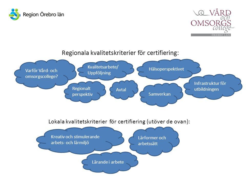 Regionala kvalitetskriterier för certifiering: Lokala kvalitetskriterier för certifiering (utöver de ovan): Varför Vård- och omsorgscollege.