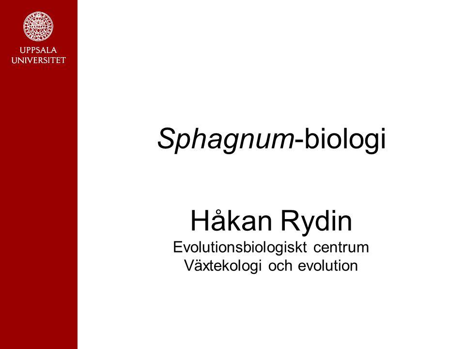 Sphagnum-biologi Håkan Rydin Evolutionsbiologiskt centrum Växtekologi och evolution