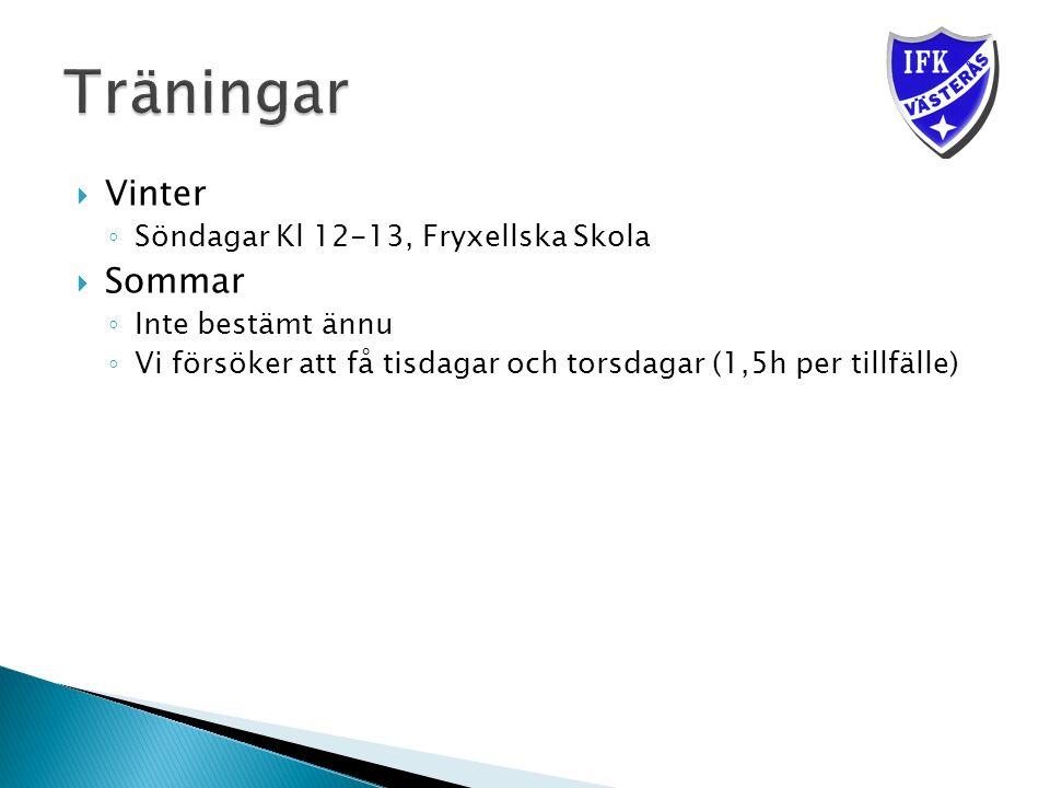  Vinter ◦ Söndagar Kl 12-13, Fryxellska Skola  Sommar ◦ Inte bestämt ännu ◦ Vi försöker att få tisdagar och torsdagar (1,5h per tillfälle)