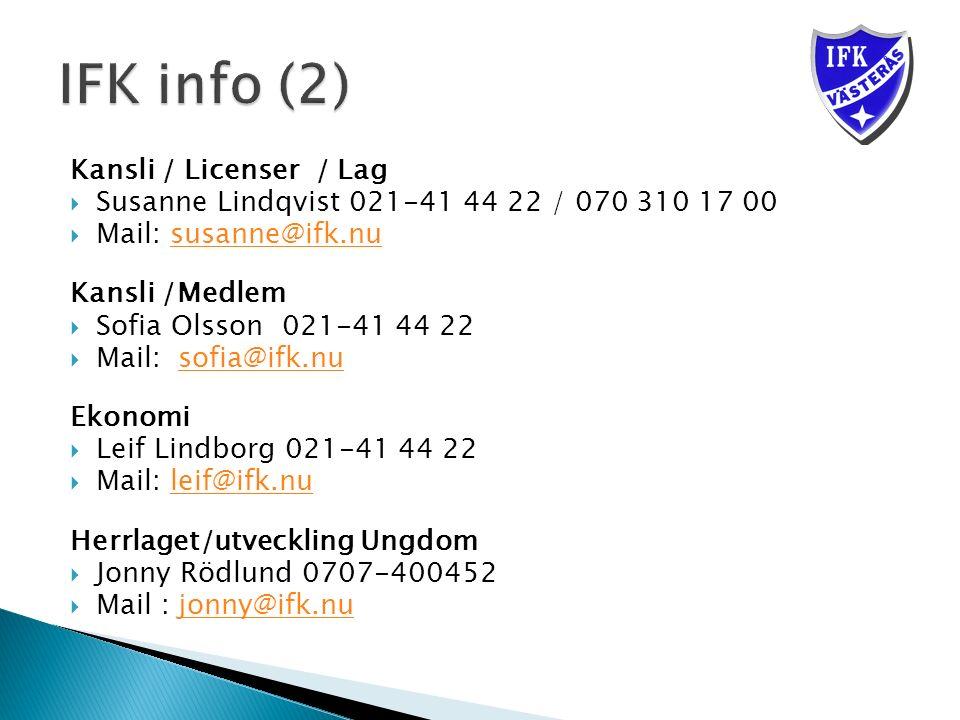 Kansli / Licenser / Lag  Susanne Lindqvist 021-41 44 22 / 070 310 17 00  Mail: susanne@ifk.nususanne@ifk.nu Kansli /Medlem  Sofia Olsson 021-41 44