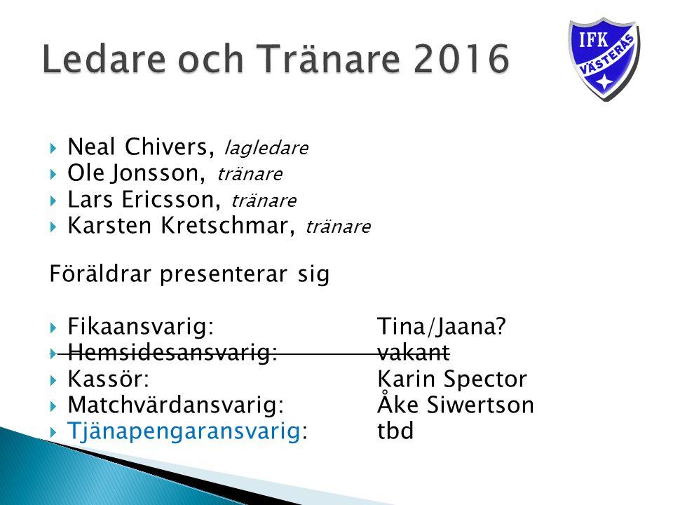 Neal Chivers, lagledare  Ole Jonsson, tränare  Lars Ericsson, tränare  Karsten Kretschmar, tränare Föräldrar presenterar sig  Fikaansvarig: Tina/Jaana.